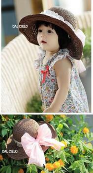 ベビー 子供  赤ちゃん リボン 麦わら帽子.png